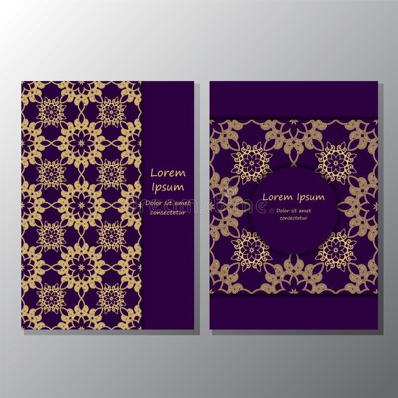 Karta plakat, broszurka szablon z orientalnym kwiatem orient ilustracji