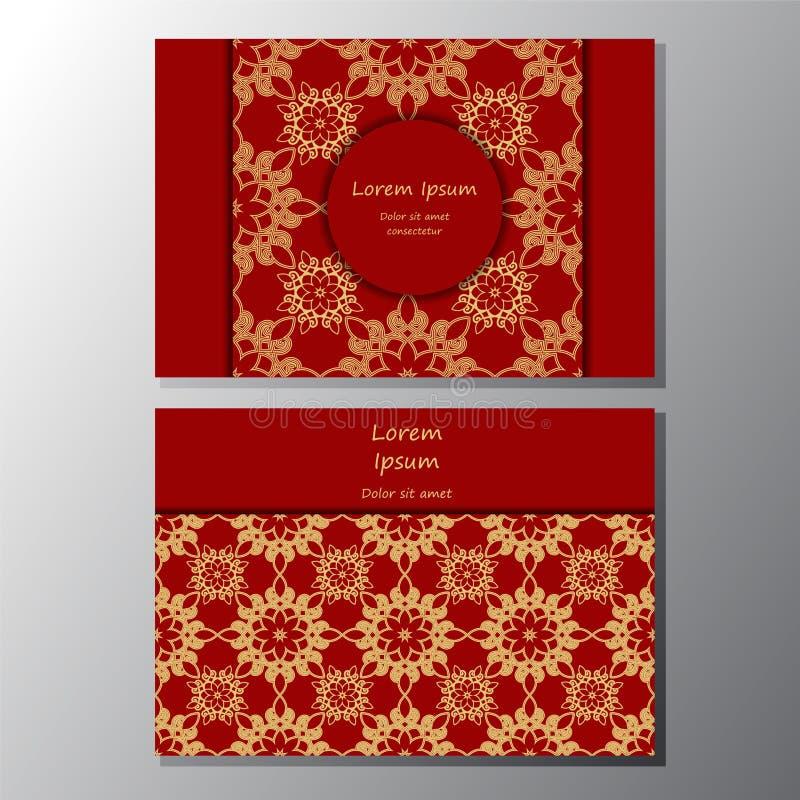 Karta plakat, broszurka szablon z orientalnym kwiatem orient royalty ilustracja