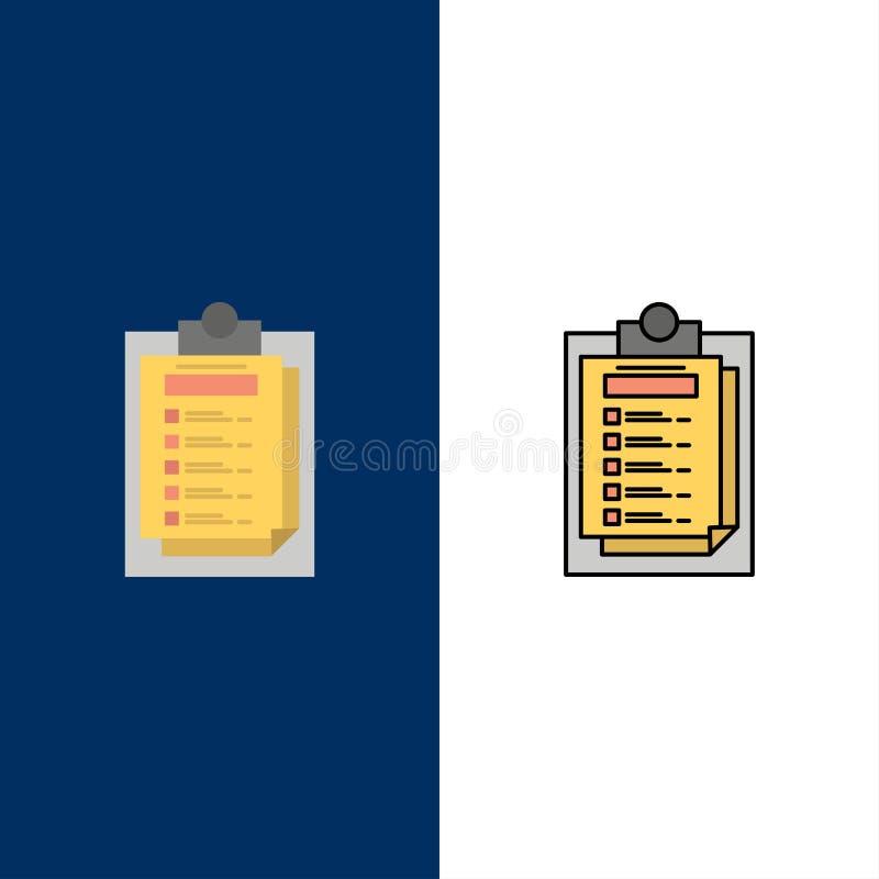 Karta, prezentacja, raport, kartotek ikony Mieszkanie i linia Wypełniający ikony Ustalony Wektorowy Błękitny tło ilustracji