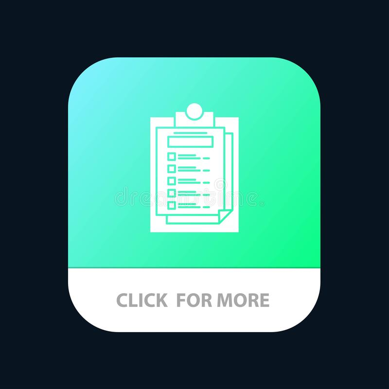 Karta, prezentacja, raport, kartoteki App Mobilny guzik Android i IOS glifu wersja ilustracja wektor