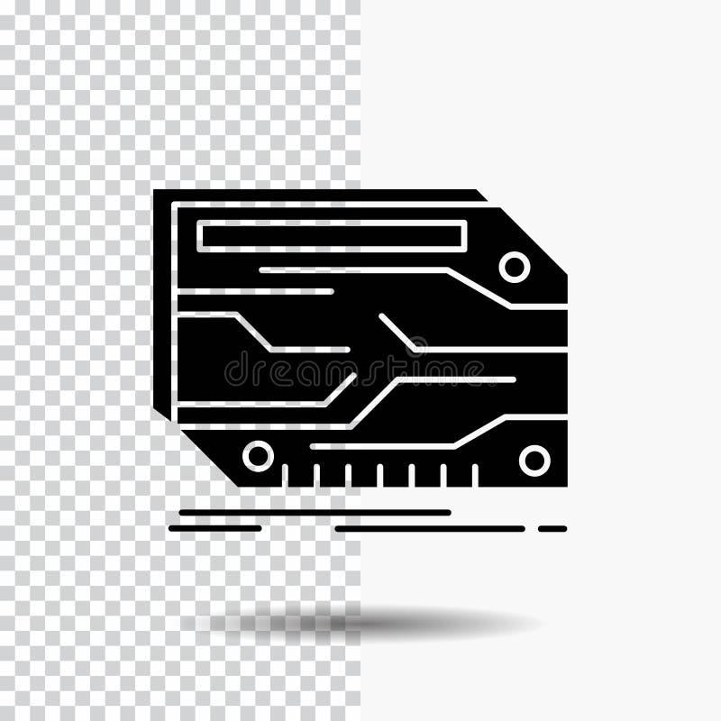 karta, składnik, zwyczaj, elektroniczny, pamięć glifu ikona na Przejrzystym tle Czarna ikona ilustracji