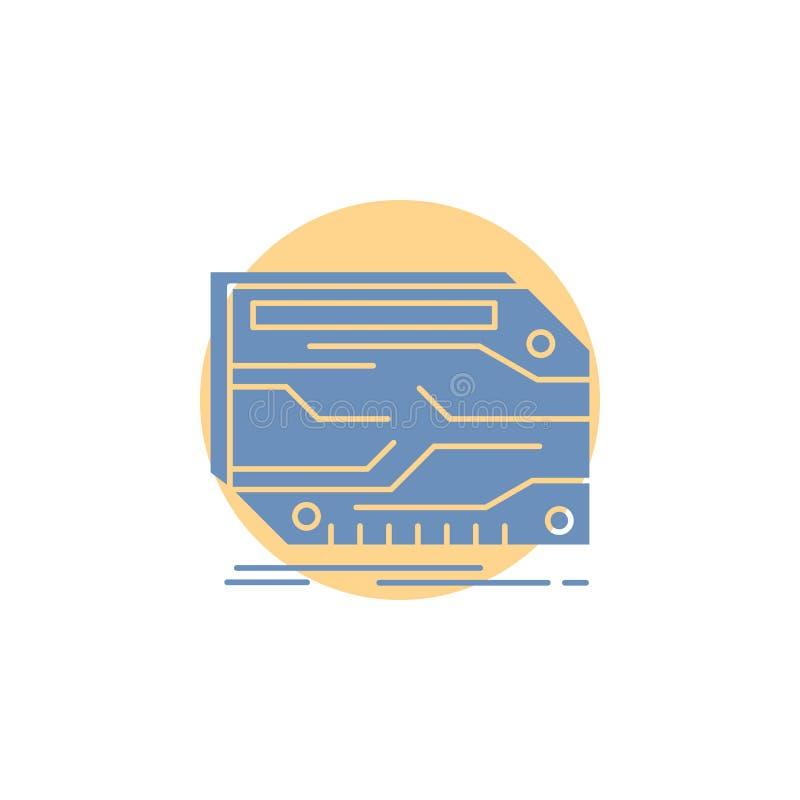 karta, składnik, zwyczaj, elektroniczny, pamięć glifu ikona royalty ilustracja