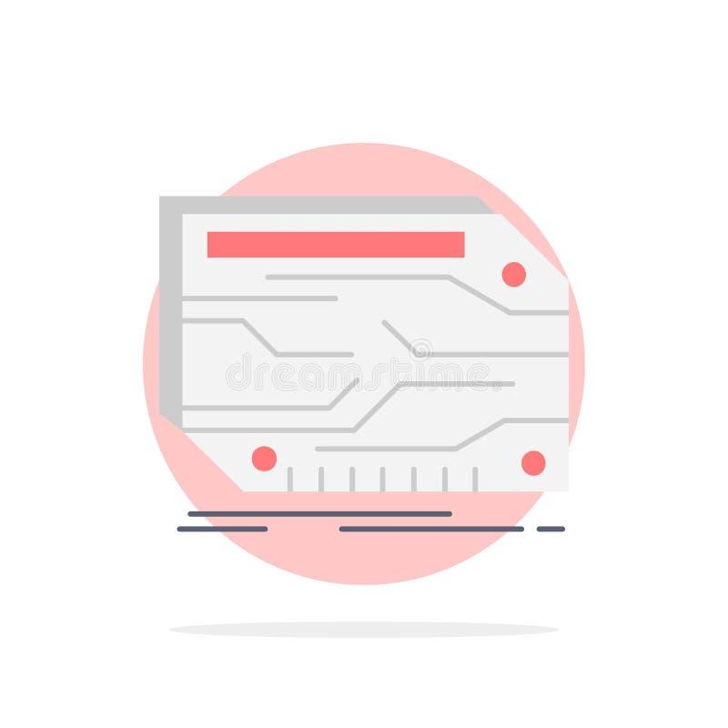 karta, składnik, zwyczaj, elektroniczny, pamięć koloru ikony Płaski wektor ilustracja wektor