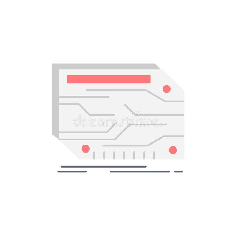karta, składnik, zwyczaj, elektroniczny, pamięć koloru ikony Płaski wektor ilustracji