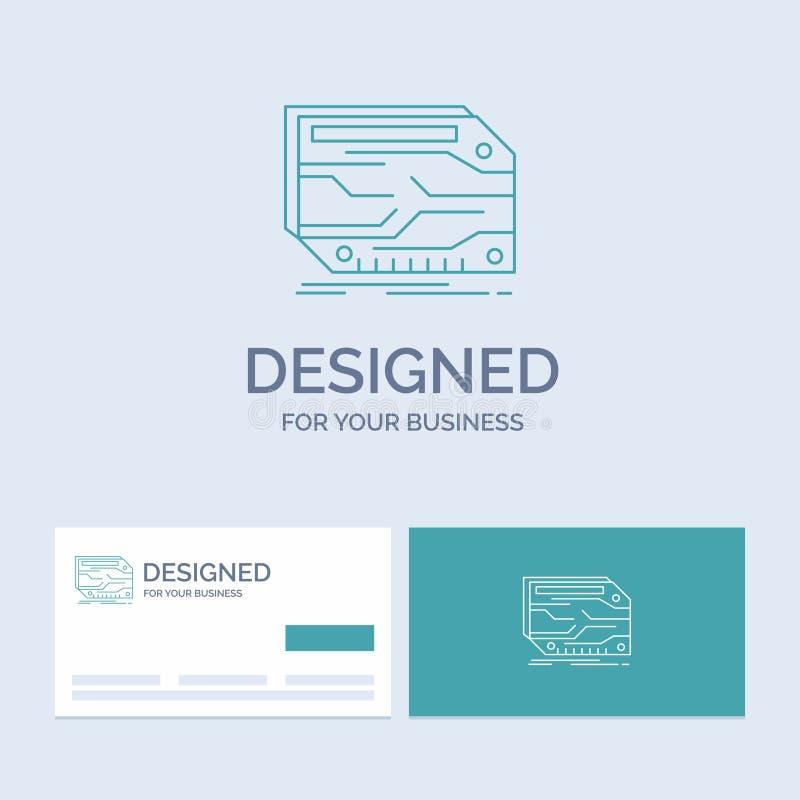 karta, składnik, zwyczaj, elektroniczny, pamięć logo linii ikony Biznesowy symbol dla twój biznesu Turkusowe wizyt?wki z gatunkie ilustracji