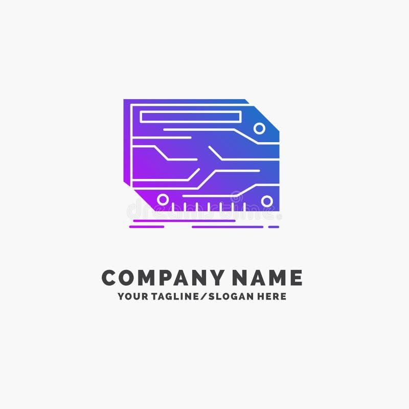 karta, składnik, zwyczaj, elektroniczny, pamięć logo Purpurowy Biznesowy szablon Miejsce dla Tagline royalty ilustracja