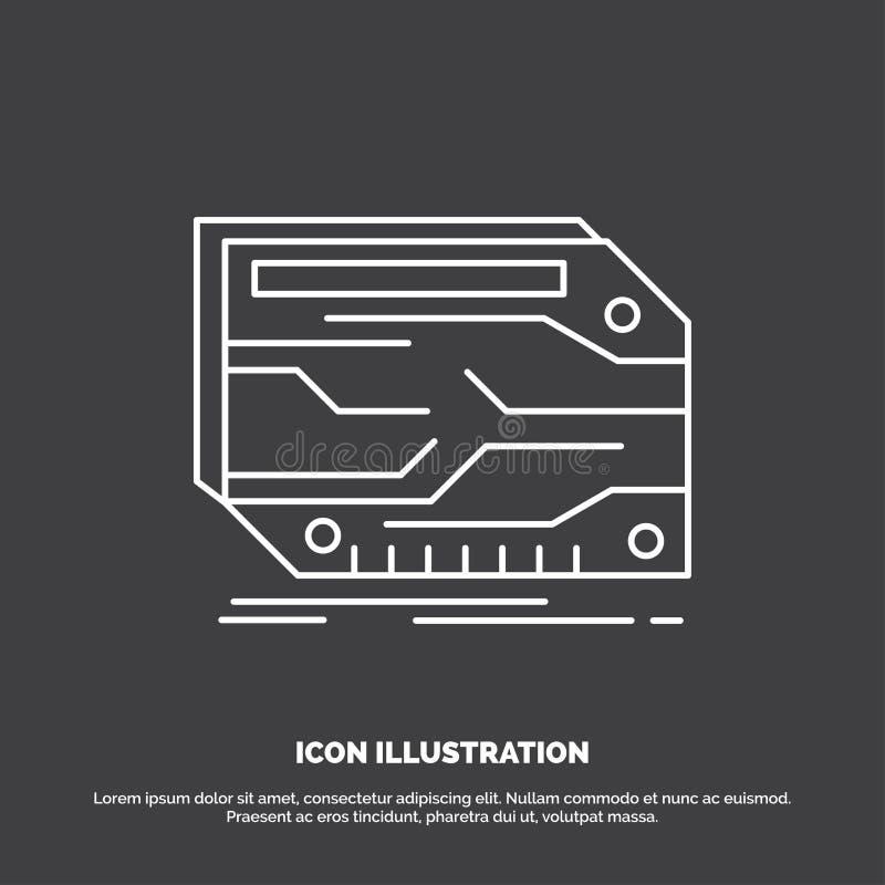 karta, składnik, zwyczaj, elektroniczny, pamięci ikona Kreskowy wektorowy symbol dla UI, UX, strona internetowa i wisz?cej ozdoby royalty ilustracja
