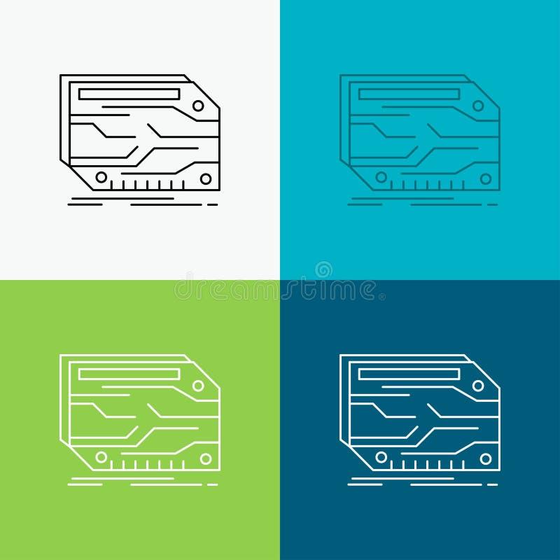 karta, składnik, zwyczaj, elektroniczny, pamięci ikona Nad Różnorodnym tłem Kreskowego stylu projekt, projektuj?cy dla sieci i ap ilustracja wektor