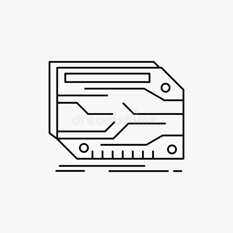 karta, składnik, zwyczaj, elektroniczny, pamięci Kreskowa ikona Wektor odosobniona ilustracja ilustracja wektor