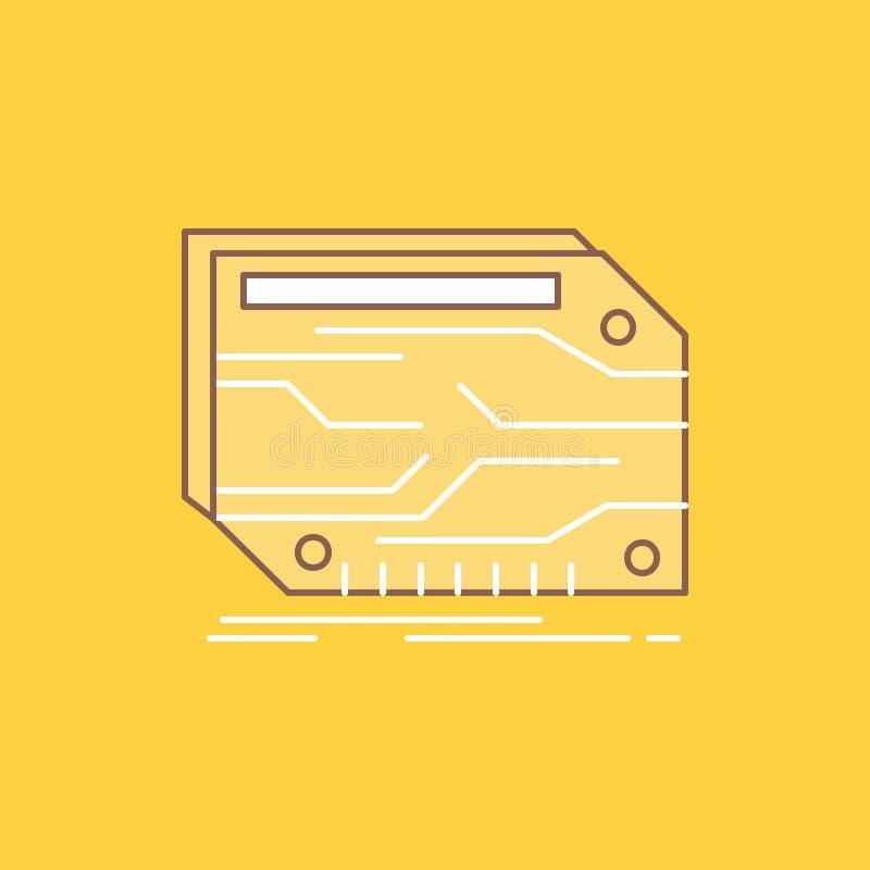 karta, składnik, zwyczaj, elektroniczny, pamięci mieszkania linia Wypełniał ikonę Pi?kny logo guzik nad ? ilustracja wektor