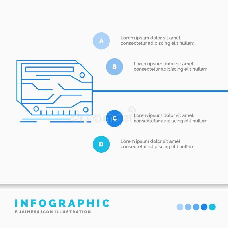 karta, składnik, zwyczaj, Infographics szablon dla strony internetowej i prezentacja, elektroniczny, pamięć, Kreskowej B??kitnej  ilustracji