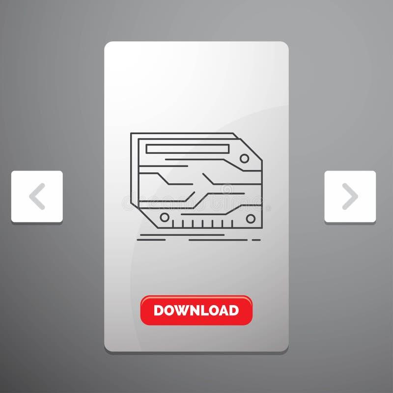 karta, składnik, zwyczaj, Kreskowa ikona w biby paginacji suwaka projekcie & Czerwony ściąganie guzik, elektroniczna, pamięć, ilustracja wektor