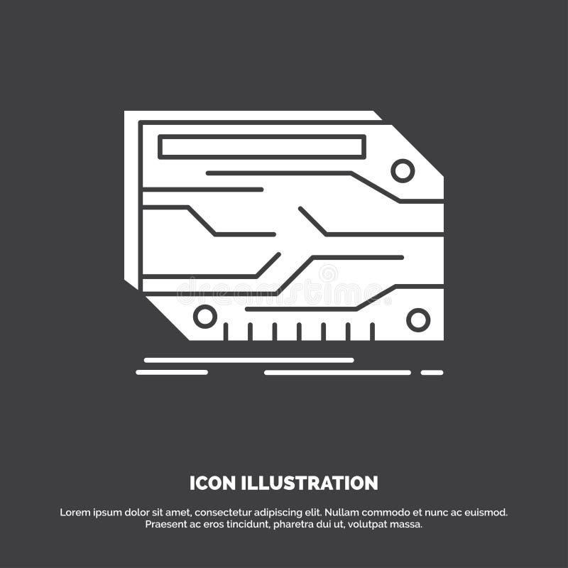 karta, sk?adnik, zwyczaj, elektroniczny, pami?ci ikona glifu wektorowy symbol dla UI, UX, strona internetowa i wisz?cej ozdoby za ilustracja wektor