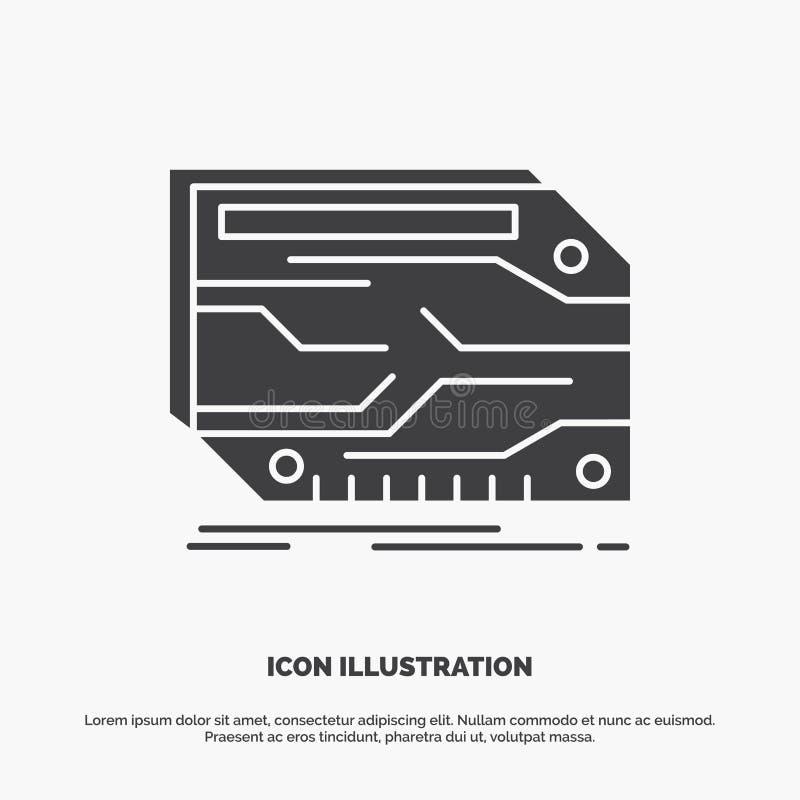 karta, sk?adnik, zwyczaj, elektroniczny, pami?ci ikona glifu wektorowy szary symbol dla UI, UX, strona internetowa i wisz?cej ozd royalty ilustracja