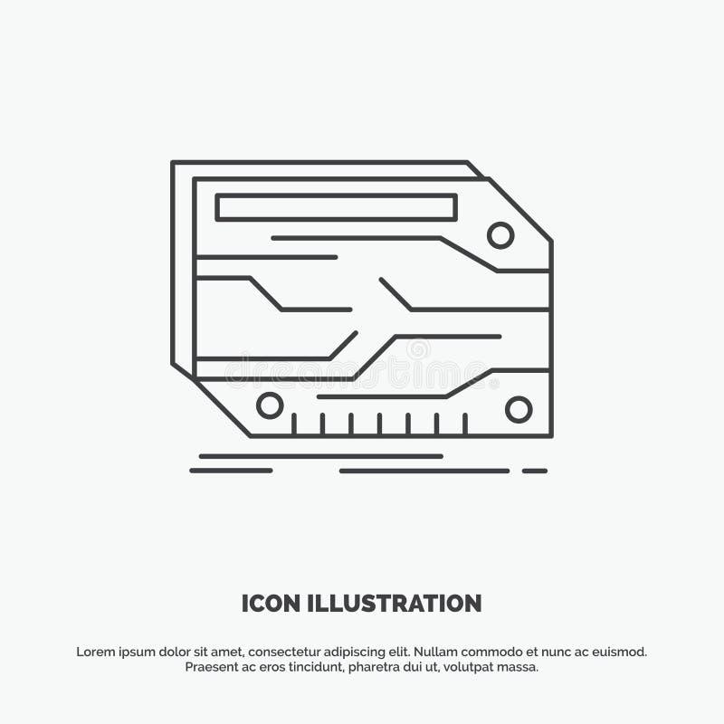 karta, sk?adnik, zwyczaj, elektroniczny, pami?ci ikona Kreskowy wektorowy szary symbol dla UI, UX, strona internetowa i wisz?cej  ilustracja wektor