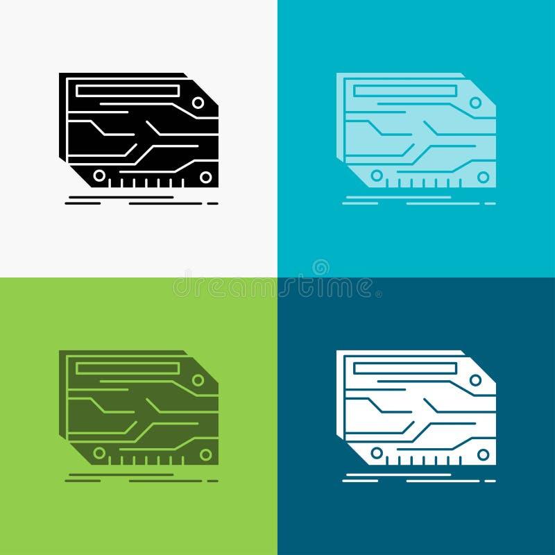 karta, sk?adnik, zwyczaj, elektroniczny, pami?ci ikona Nad R??norodnym t?em glifu stylu projekt, projektuj?cy dla sieci i app 10  ilustracji
