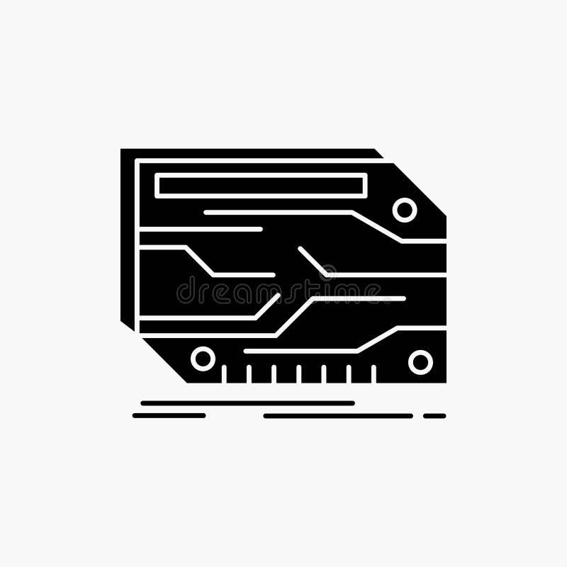 karta, sk?adnik, zwyczaj, elektroniczny, pami?? glifu ikona Wektor odosobniona ilustracja ilustracja wektor