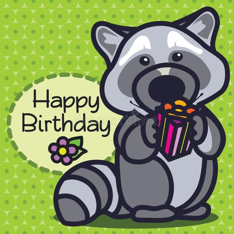 Karta szczęśliwy urodziny raccoon ilustracji