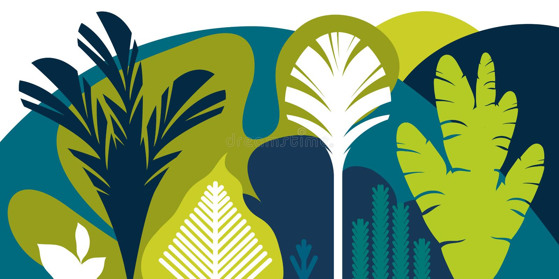 Karta, sztandar, zaproszenie z tropikalny kształtować teren, rośliny, drzewa, wzgórza i góry, Konserwacja środowisko, ekologia royalty ilustracja
