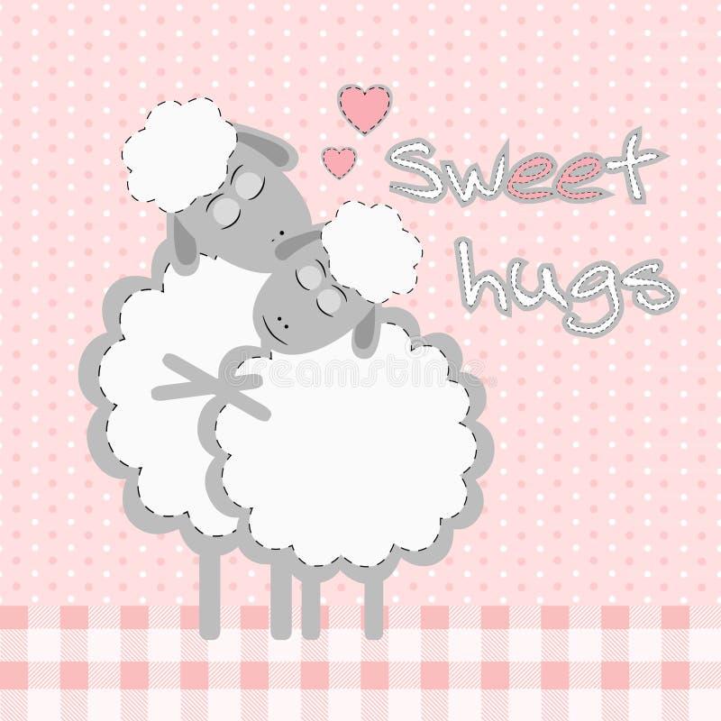 Karta z ślicznymi kreskówek sheeps i zwrotów Słodkimi uściśnięciami royalty ilustracja