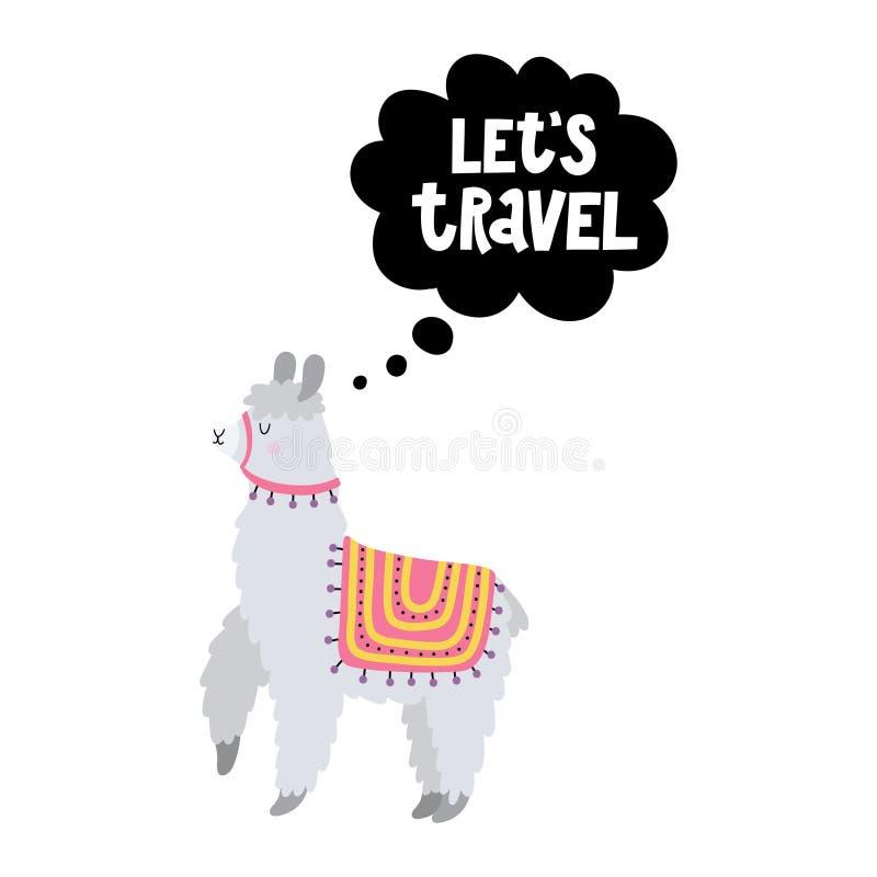 Karta z śmiesznym lama i tekstem Pozwala podróż royalty ilustracja