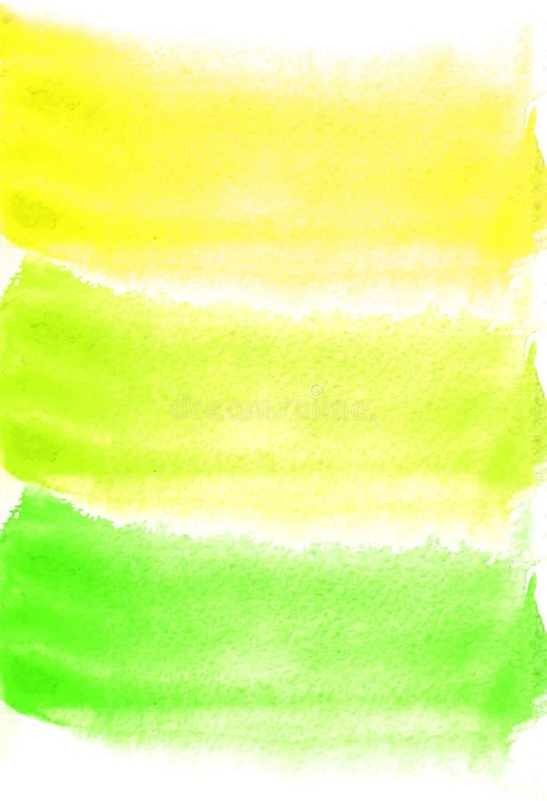 Karta z akwarela kleksami Zieleni i koloru żółtego kolory Malować dla twój projekta ilustracja wektor