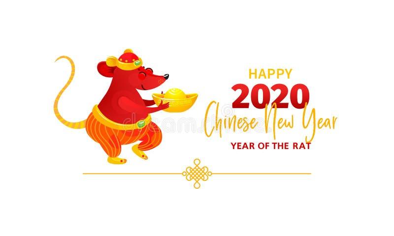 Karta z Białego metalu szczura symbolem 2020 na Chińskim kalendarzu ilustracja wektor