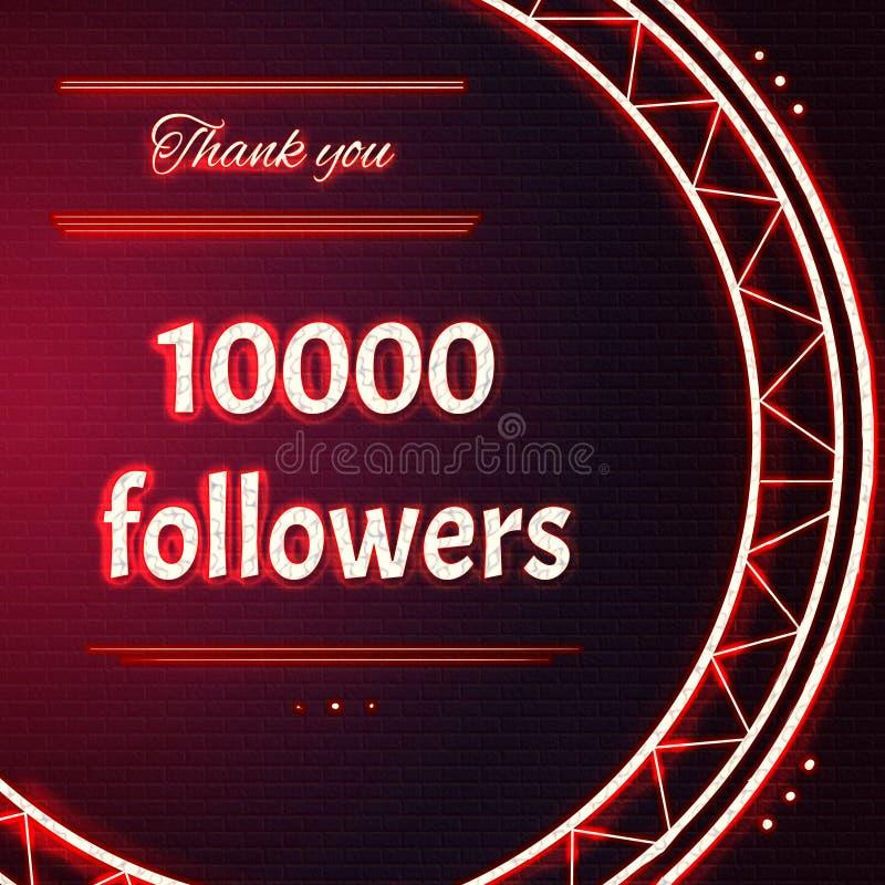 Karta z czerwonym neonowym tekstem Dziękuje ciebie dziesięcia tysięcy 10000 zwolennicy obraz royalty free