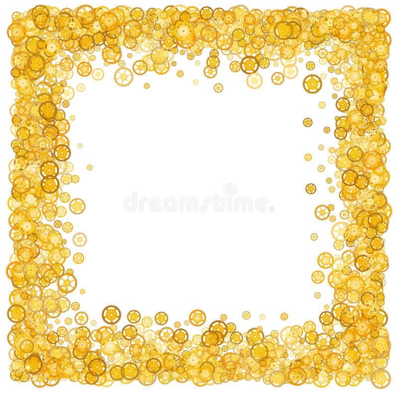 Karta z dużo przekładnie Złoto granica migotliwy Złota rama przekładnie confetti Technologiczna rama projekt machinalny Żółci cog royalty ilustracja