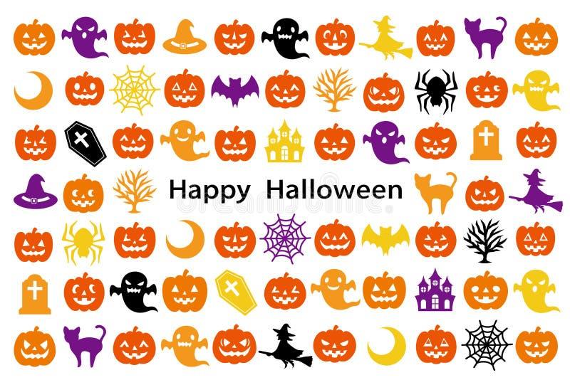 Karta z Halloweenowymi ikonami ilustracja wektor