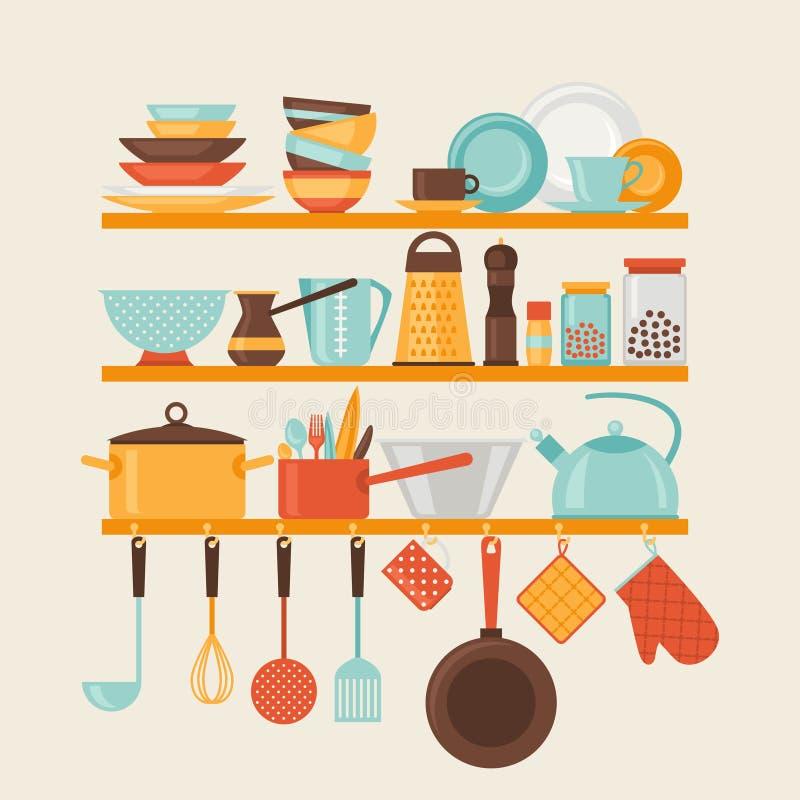 Karta z kuchni półkami wewnątrz i kulinarnymi naczyniami ilustracja wektor