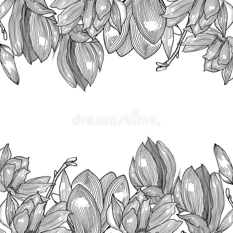 Karta z magnolią grafit ręka patroszona ilustracja wektor