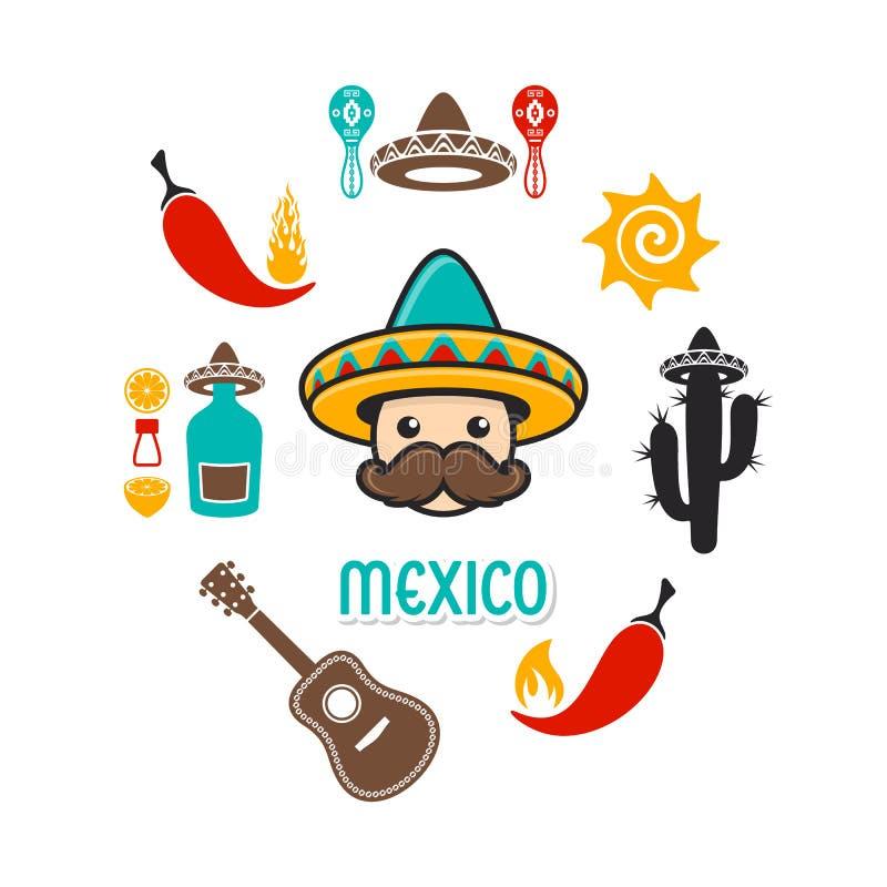 Karta z Mexico ikonami i znakami royalty ilustracja