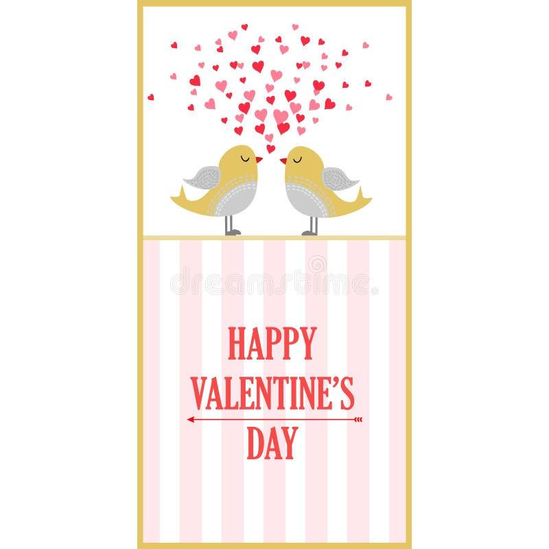 Karta z miłość ptakami Walentynki ` s dnia pocztówkowy projekt royalty ilustracja
