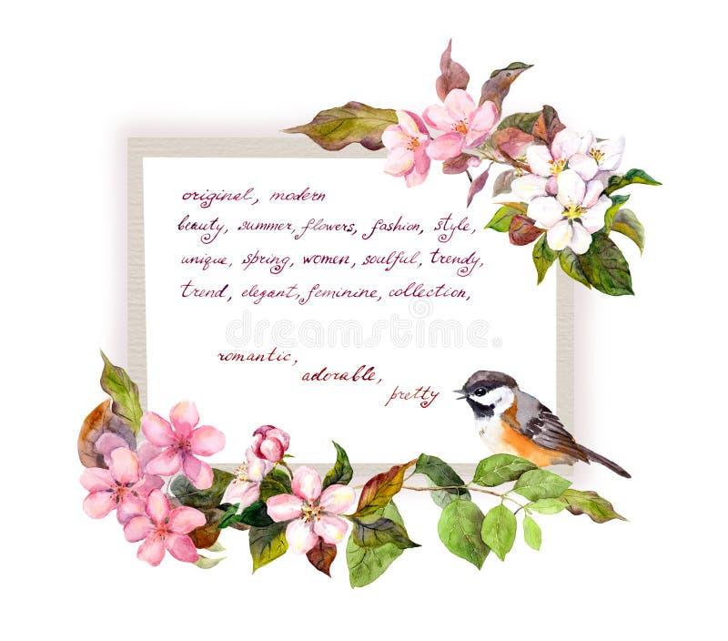 Karta z okwitnięciem kwitnie, śliczny ptak, ręka pisać tekst Akwareli rama dla moda projekta royalty ilustracja
