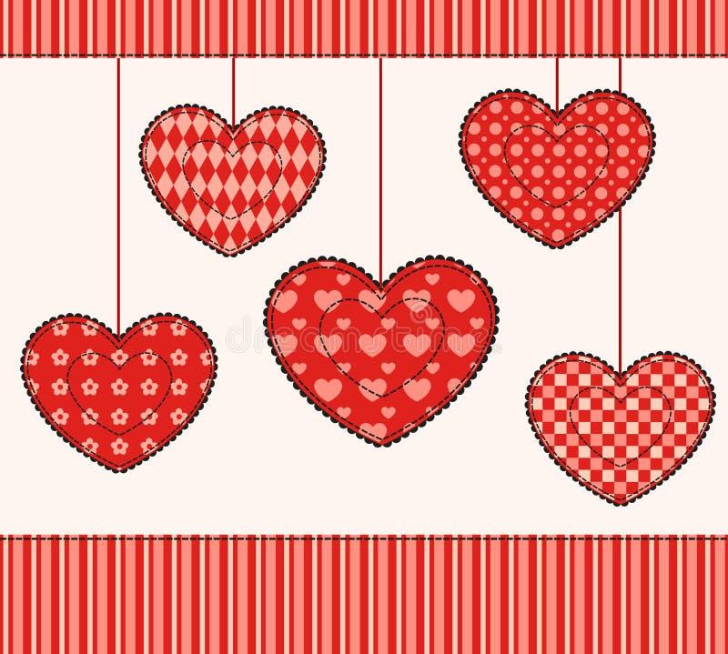 Karta z patchworków sercami.