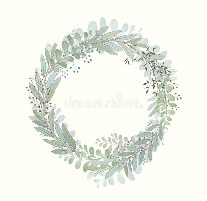 Karta z pięknymi gałązkami z liśćmi Ślubny ornamentu pojęcie Imitacja akwarela, odizolowywająca na bielu kreślący royalty ilustracja