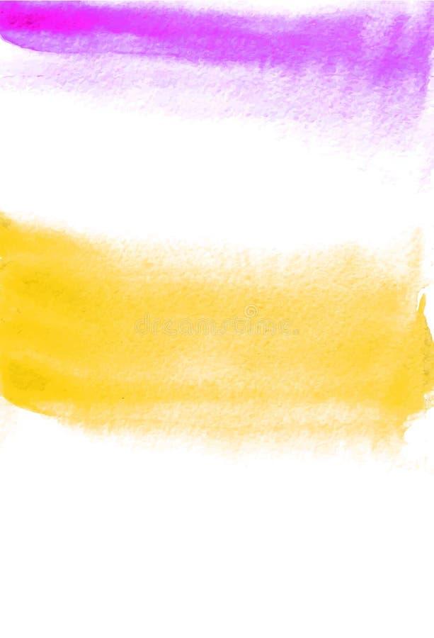 Karta z pomarańcze i purpur kleksami Akwarela obraz dla projekta Abstrakcjonistyczny jaskrawy textured tło Pocztówka, sztandar, l royalty ilustracja