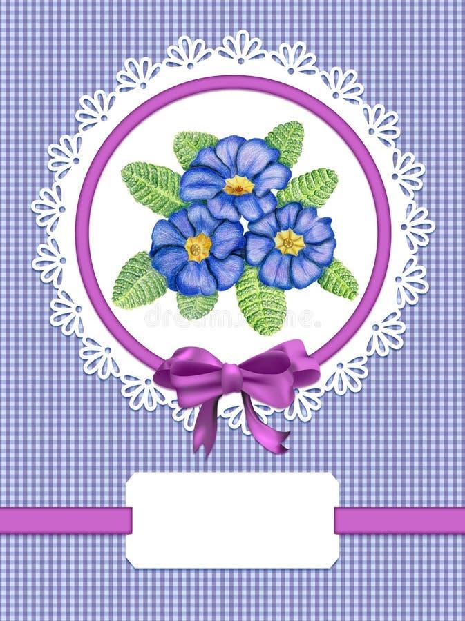 Karta z primula kwiatami ilustracji