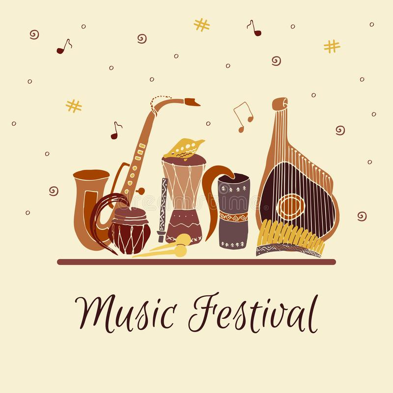 Karta z r?ka rysuj?cymi tradycyjnymi muzycznymi instrumentami Festiwal Muzyki ilustracja wektor