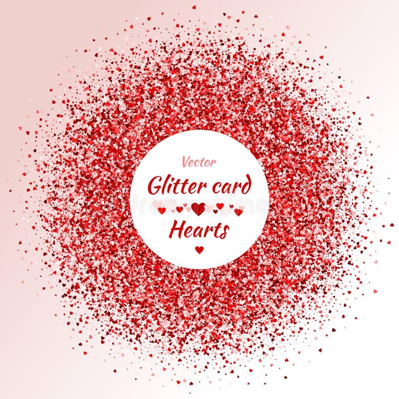 Karta z shimmer tła karciana złocista powitania serc czerwień nasycał prześcieradło ilustracji