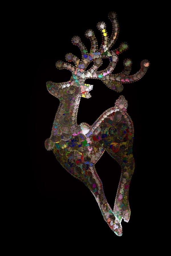 Karta z stylizowanym abstrakcjonistycznym pstrokatym rogaczem na czarnym tle obrazy royalty free