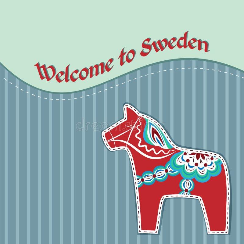 Karta z szwedzkim drewnianym koniem royalty ilustracja