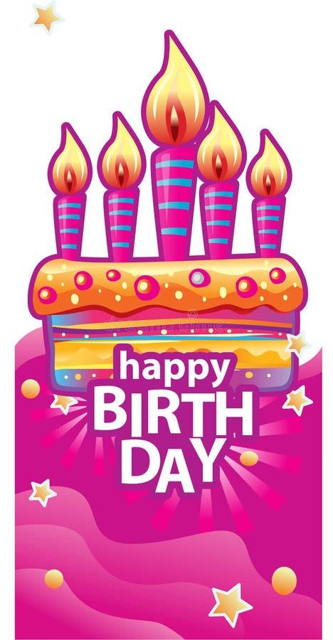 Karta z urodzinowym tortem i świeczkami ilustracji