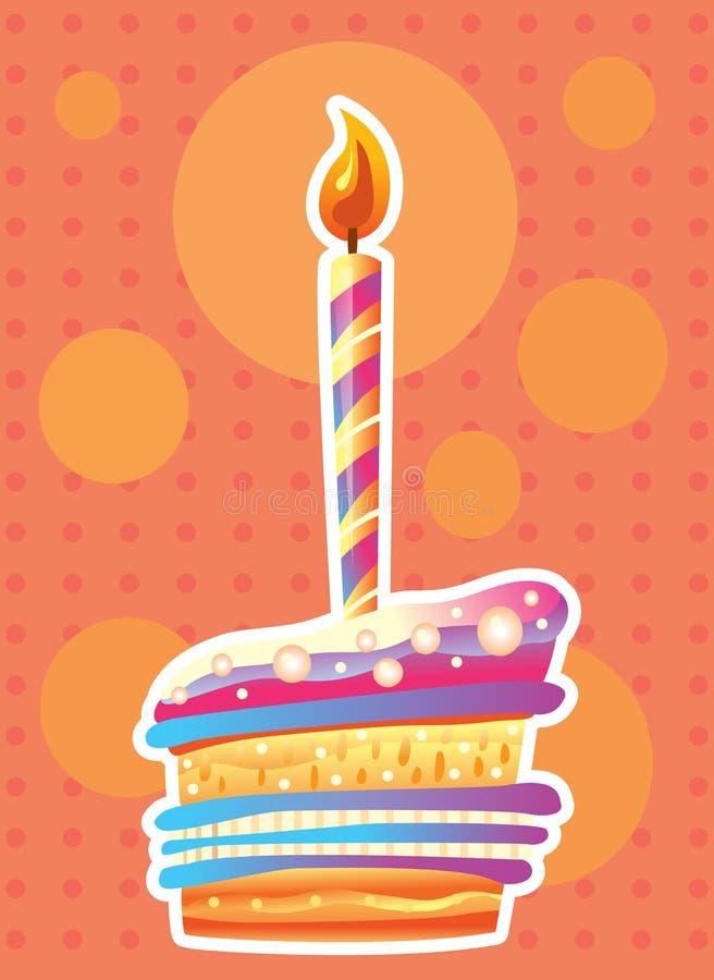 Karta z urodzinowym tortem i świeczkami royalty ilustracja