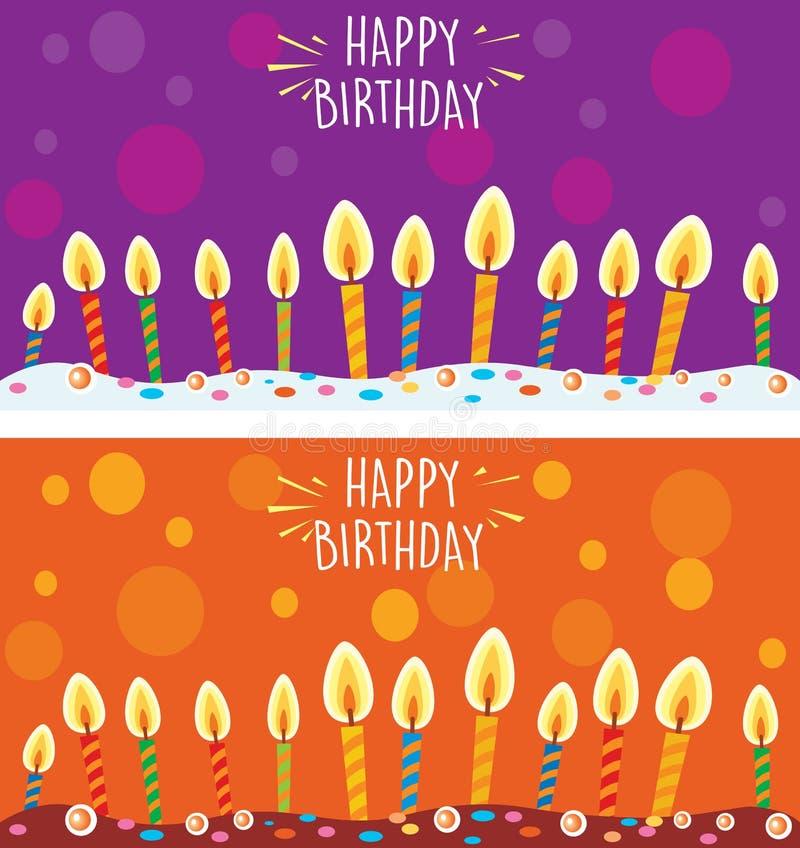 Karta z urodzinowym tortem i świeczkami ilustracja wektor