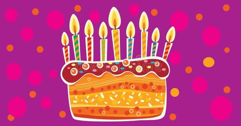 Karta z urodzinowym tortem i ?wieczkami ilustracja wektor