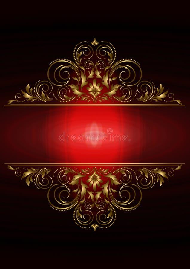 Karta z złocistym kwiecistym wzoru i czerwieni tylnym oświetleniem przy centrum ilustracji