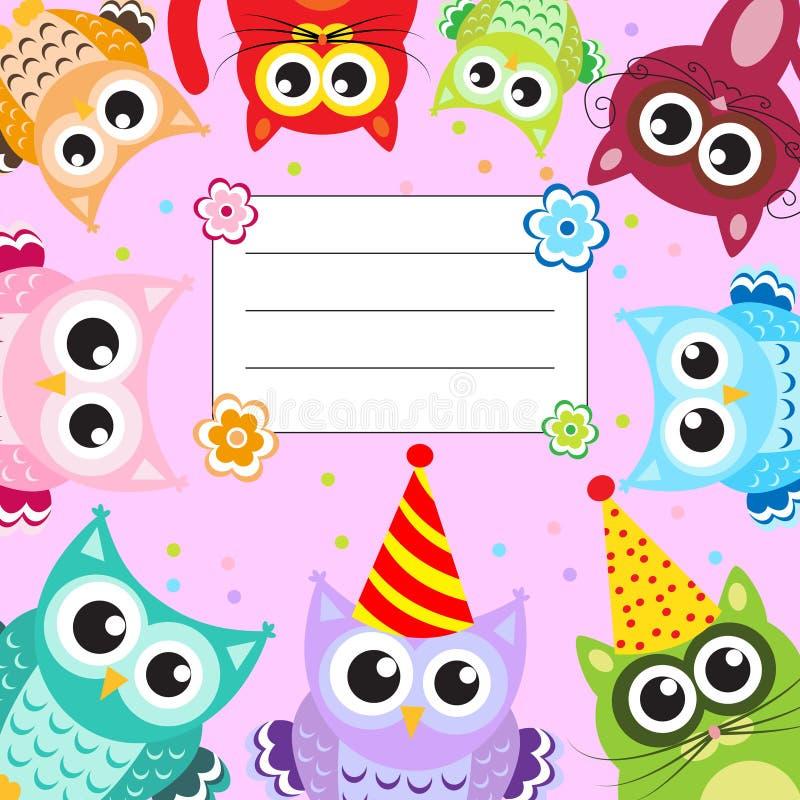 Karta, zaproszenie, ramowi dzieci zwierzęta ilustracja wektor