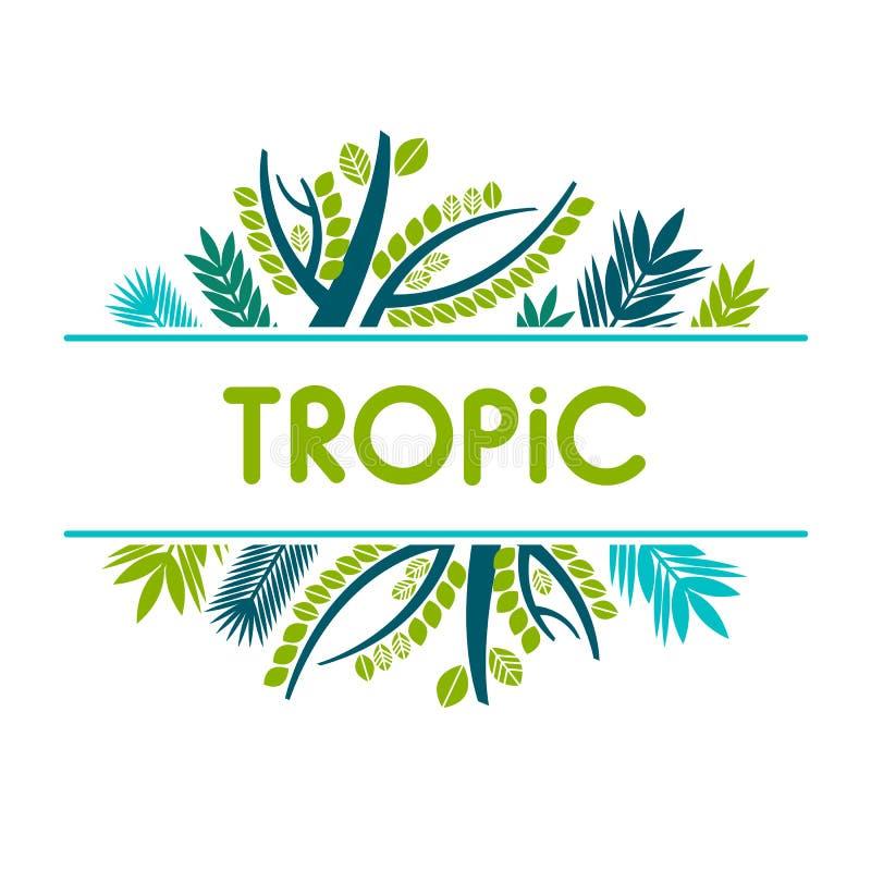 Karta, zaproszenie, sztandar z tropikalnymi liśćmi Rama z tropikalnymi roślinami ilustracja wektor